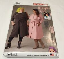 Simplicity D0753 G5 Ashley Nell Tipton Pattern Woman's Lined Coat 26W - 34W New