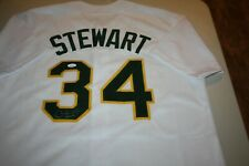 OAKLAND A'S ATHLETICS #34 DAVE STEWART SIGNED HOME JERSEY 89 WS CHAMPS JSA