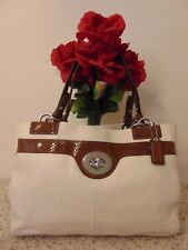 COACH Penelope Ivory Leather Brown Snakeskin Carryall Tote Bag F16531