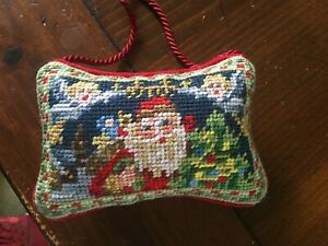 Needlepoint Christmas Ornament SANTA 6 X4 INCHES