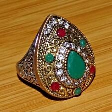TURKISH VICTORIAN 925 STERLING SILVER PLATED Emerald, Ruby RING SIZE 10.25 US
