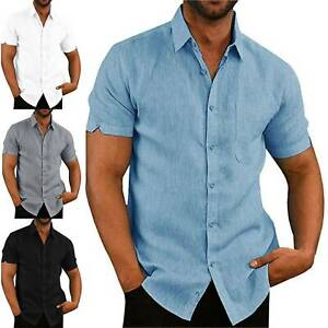 Men Solid Shirt Button Up Short Sleeve Vest Formal Casual Fit Blouse Tops Tunics