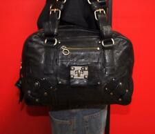 JUICY COUTURE Black Leather Textured Turn-Lock Tote Purse Shoulder Hand Bag