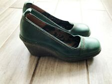 bottle green fly london wedge shoes leather IMMACULATE worn twice UK4 euro 37
