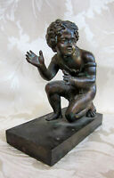 Antique Genuine Victorian BRONZE CHERUB OLD CLOCK SURMOUNT Architectural Salvage