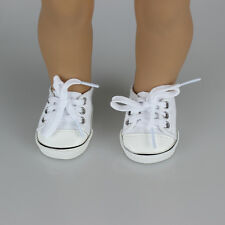 Handmade Canvas White Shoes for 18 inch Doll Cute Baby Kids Toy Gift