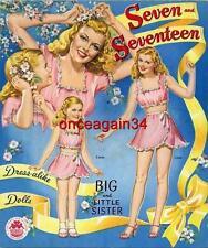 Vintage Uncut 1945 Seven & Seventeen Paper Dolls~#1 Reproduction~Nostalgic/Ra re!