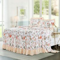 HIG 3 Piece Print Ruffle Skirt Bedspread Set 30 inches Drop Twin Queen King Size