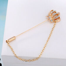 Men Women Gold Crystal Crown Brooch Pins Badge Lapel Stick Wedding Jewelry