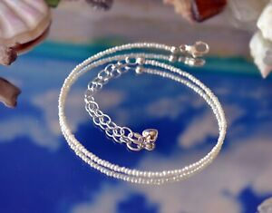 Tiny Freshwater Seed Pearl & .925 Sterling Silver Ankle Bracelet 9 to 11 Inches
