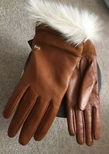 $125 NWT UGG NATURAL FUR LEATHER GLOVES SZ M
