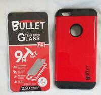 RED IPHONE6 PLUS BULLET CELL PHONE CASE & IMPACT RESISTANT PROTECTIVE GLASS