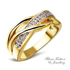 Copper+18K Yellow Gold Filled Simulated Diamond Popular Crossover Band Ring