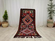 """Boujad Handmade Vintage Moroccan Rug 2'8""""x6'  Berber Geometric Purple Wool Rug"""
