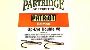 PATRIOT SALMON UP EYE DOUBLE FLY FISHING HOOKS COLOUR BLACK FROM PARTRIDGE
