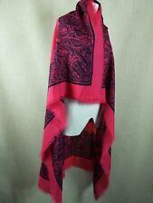 "Viyella Womens 100% Wool Large 52"" Throw Scarf Wrap Made In England Pink & Black"