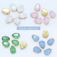 Opal color pear crystal glass stone sew on rhinestones jewels gold base All size