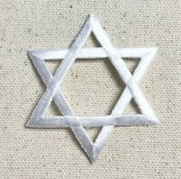 Large WHITE Star of David - Hannukah/Jewish Embroidered Patch/Iron on Applique
