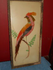 REAL BIRD FEATHER COCKATIEL PICTURE ANTIQUE FRAMED FOLK ART PROVIDENCE ART SHOP