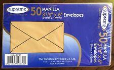 50 MANILLA (BROWN) ENVELOPES 89mm X 152mm