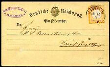DR 1872 15 auf KARTE 2 KREUZER MANNHEIM ? FFM 400€(D4810