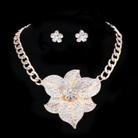 Fashion Gold Plated Flower Crystal Wedding Party Necklace Earring Jewelry Sets