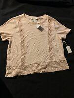 Forever 21 Contemporary Women's Shirt Sleeve  Shirt Blouse Tan Textured