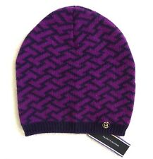 TOMMY HILFIGER Deep Violet WOOL & CASHMERE Beanie Hat Toque Womens Femme TAGS