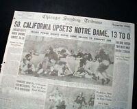 Famous NOTRE DAME Fighting Irish vs. USC Trojans Football UPSET 1938 Newspaper