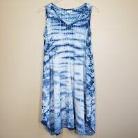 Pure J. Jill Blue White Tie Dye Trapeze V-neck  Pima Cotton Shift Dress Size XS