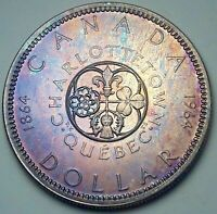 1964 CANADA 1 ONE SILVER DOLLAR PROOF BU GEM MONSTER PURPLE COLOR UNC TONED (DR)