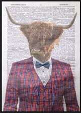 Highland Cattle Print Vintage Dictionary Wall Art Picture Red Tartan Cow Animal