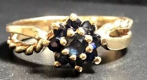 Beautiful Vintage 10ct Gold Sapphire Ring - Size L,-2.56g