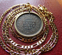 """1940 INDIA ANNA Bronze Gold Filled PENDANT on a 24"""" 18k Gold Filled 5MMChain."""