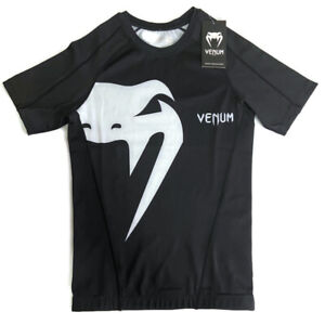 🔴 Venum Giant Rashguard Short Sleeve Compression T-Shirt Black Men's Medium