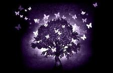 Framed Abstract Print - Purple Tree with Butterflies (Picture Poster Nature Art)