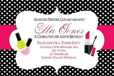 10 Personalised Girl Childrens Pamper  Birthday Party Invitations&Thank you