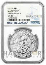 2016 SILVER MARK TWAIN UNCIRCULATED $1 - NGC MS69 FIRST RELEASES - W/ OGP