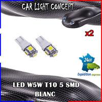 2 x ampoule veilleuse Feu LED W5W T10 BLANC XENON 6500k voiture auto moto 5 smd
