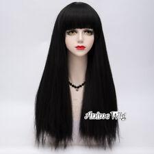 Lolita Lady Gaga Halloween 65cm Long Straight Yaki Wig+Cap Neat Bang Cosplay