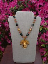 Necklace with Matching Bracelet Solid Brass And Onyx Medallion
