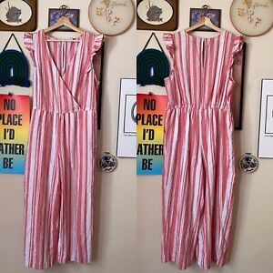 Old Navy Pink White Striped Linen Wrap Front Ruffle Sleeve Cropped Jumpsuit