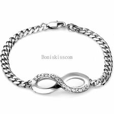 Silver Tone Stainless Steel Infinity Braided Chain Bangle Bracelet Women's Gift