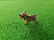 Vintage Miniature Flocked Tan Scottie Terrier Dog Dollhouse Diorama Craft Nos