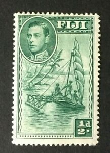 Fiji: 1938 KGVI definitive 0.5d green, perforation 14 SG 249, Mint