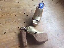 Jeffrey Campbell gold platform heel sandals size 38, 5 Uk