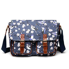 Fashion Birds Flower Girls School Shoulder Bag Satchel Purse Navy-birds L1107 Birds-l1107