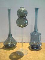 3 Vasen-Blumenvasen-Krüge-Lauschaer Glas-Grün-mundgeblasen-handgeformt