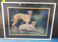 A FRAMED AND GLAZED PRINT OF TWO GREY HOUNDS.