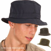 Bush Hat Bucket Shower Resistant Rain Winter Black Navy Mens Ladies Womens